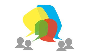 Social media, brainstorming conversation