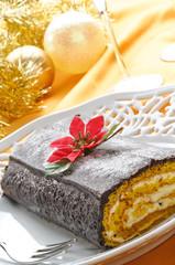 Rotolo farcito per pranzo di Natale, close-up
