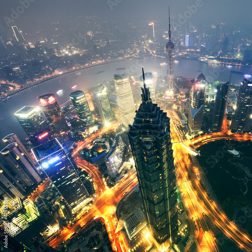 Shanghai City at sunset with light trails;