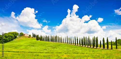 Beautiful landscape with house on hill in Tuscany, Italy