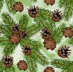 Vector seamless background with fir tree branches and cones.