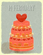 Valentines Cake on Grunge Background