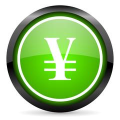 yen green glossy icon on white background