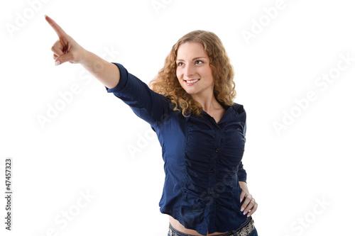 Ja, dort ist das Glück - junge Frau zeigt etwas