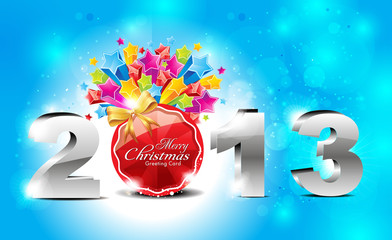 abstract glossy new year  background with explode stars