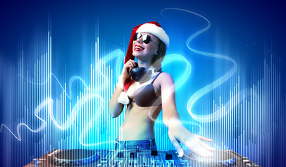 Female dj in christmas wear