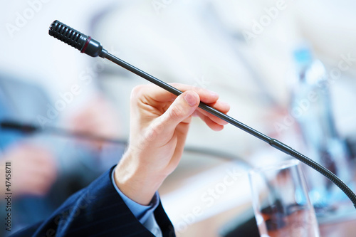 Conference hall with microphones