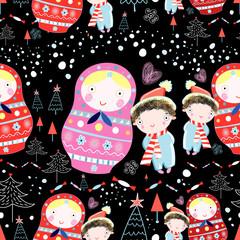winter texture dolls and children
