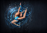 Fototapety Young woman in gymnast suit posing