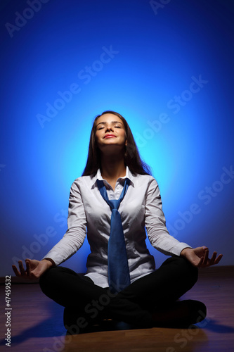 Business woman meditating