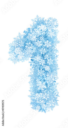 Number 1, frosty snowflakes - 47459575
