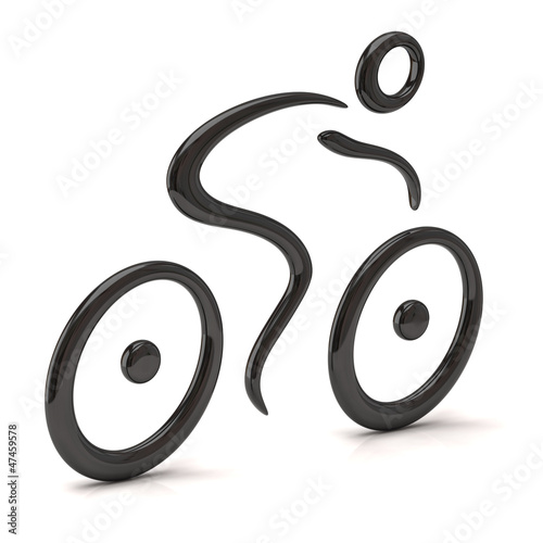 3d illustration of cyclist icon