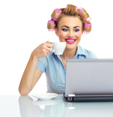 Happy smile woman drinking coffee and chat on laptop, isolated