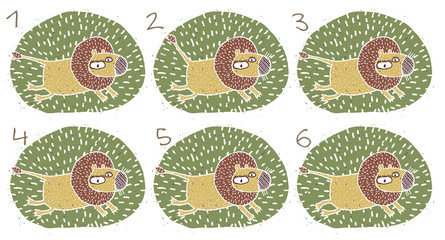 Lion Puzzle ... match the pairs ... Answer: No. 3 and 4.