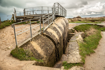 Remains of a German bunker at Pointe du Hoc