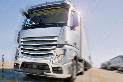 Modern  Truck on road motion blur dramatic