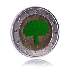 Green Euro Coin