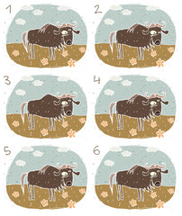 Gnu Puzzle ... match alike pairs ... Answer: No. 4 and 5.