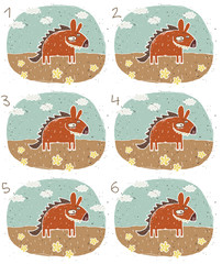 Hyena Puzzle ... match alike pairs ... Answer: No. 1 and 4.