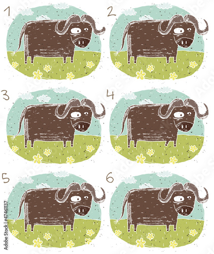 Buffalo Puzzle ... match alikepairs ... Answer: No. 2 and 6.