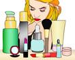 Una donna e i suoi prodotti di bellezza