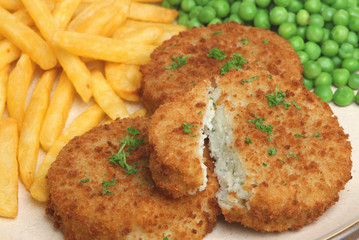 Cod Fishcakes with Chips and Peas