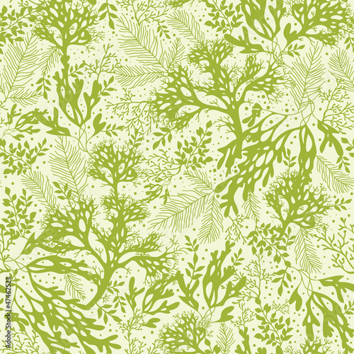 Vector green underwater seaweed seamless pattern background with