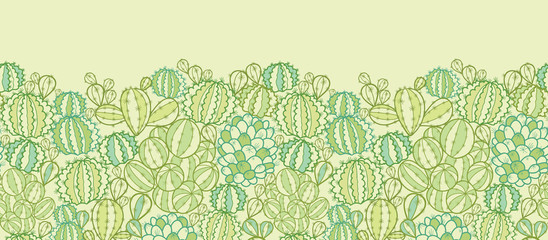 Vector cactus plants texture horizontal seamless pattern