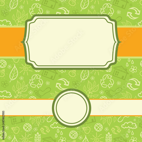 Vector set of frames eco environmental seamless pattern