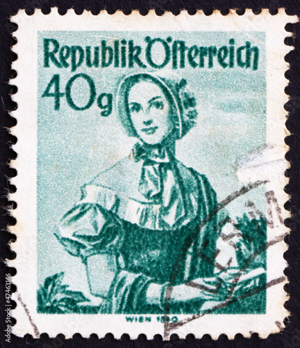 Postage stamp Austria 1949 Woman from Vienna, 1840