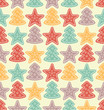 Seamless pattern with color stars and christmas trees