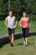 Two people are jogging