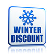 winter discount white banner with snowflake symbol