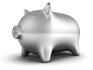 metallic piggy money bank on white background