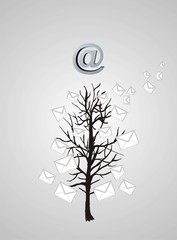 Christmas tree from emails on gray