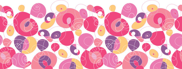 Vector colorful swirl shapes horizontal seamless pattern