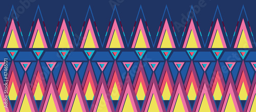 Vector vibrant triangles horizontal seamless pattern ornament