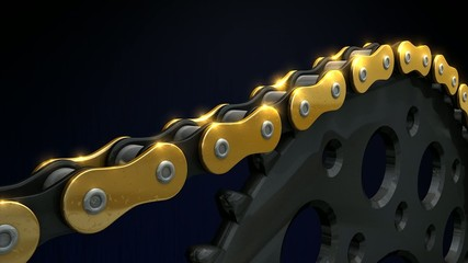 Chain and sprocket.