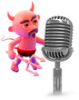 Devil speaks to the microphone