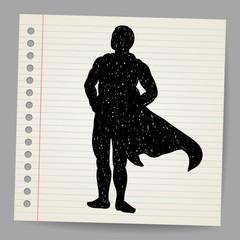 Doodle superhero silhouette