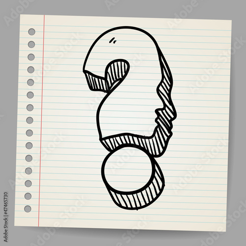Doodle icon of question mark with face