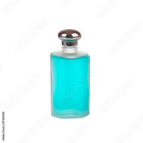 Men's perfume in blue bottle isolated on white