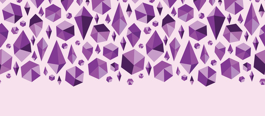 Vector purple geometric jewel shapes horizontal seamless