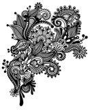 Hand draw black and white line art ornate flower design. Ukraini