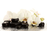 Spa stones and orchid flowers, isolated on white.