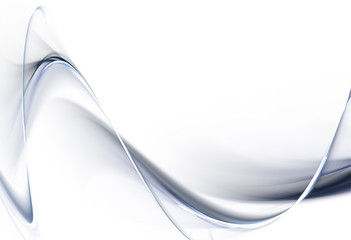 Elegant steel fractal waves on white background