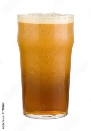 Fresh red beer with deep foam in a pint glass