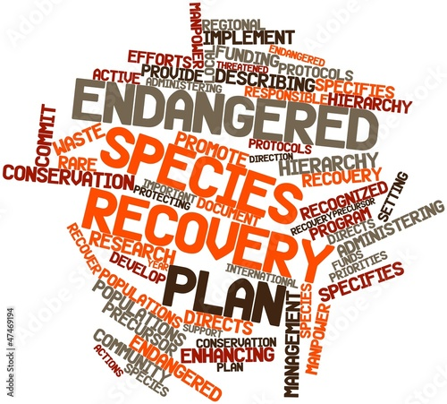 Word cloud for Endangered species recovery plan