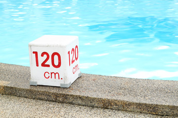 120 cm. water depth sign