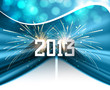 Happy new year 2013 blue colorful celebration circle wave vector